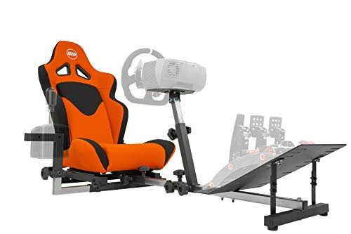 OpenWheeler GEN3 Racing Wheel Stand Cockpit Orange on Black | Fits All Logitech G923 | G29 | G920 | Thrustmaster | Fanatec Wheels | Compatible with Xbox One, PS4, PC Platforms