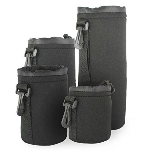 Belmalia 4x Objektivtaschen Set aus Neopren Groesse S+M+L+XL, wasserabweisend, perfekter Schutz fuer Ihre Objektive, schwarz