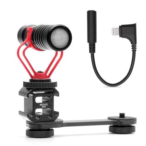 Movo VXR10 iPhone Microphone w/Gimbal Bracket & Lightning to 3.5mm iPhone Apple Adapter - Condenser Microphone for iPhone Video Recording - Lightning to 3.5 mm Headphone Jack Adapter for Shotgun Mic