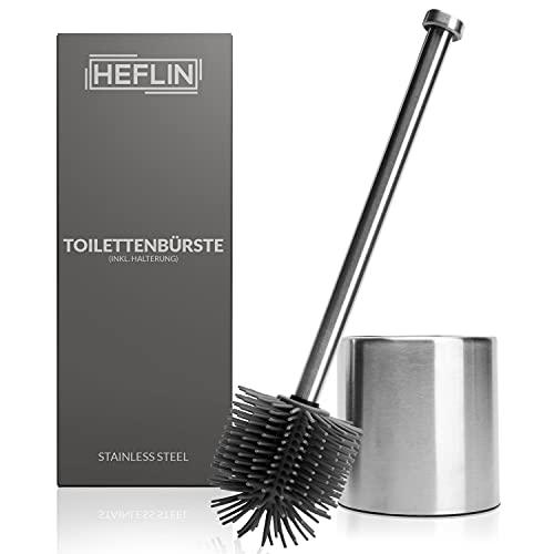 HEFLIN Toilettenbürste Silikon - WC-Bürste aus Silikon für gründliche Reinigung - Hochwertiger Edelstahl Behälter