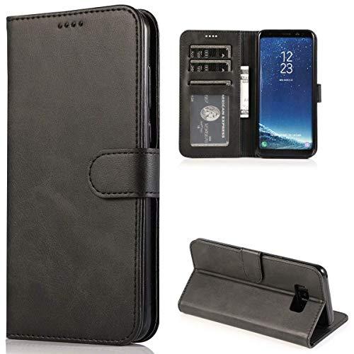 CTIUYA Schutzhülle für Samsung Galaxy S8, Hülle Handyhülle Leder Klapphülle Handytasche Flip Brieftasche Schutzhülle Magnet Wallet Case Tasche Lederhülle für Samsung Galaxy S8,Schwarz