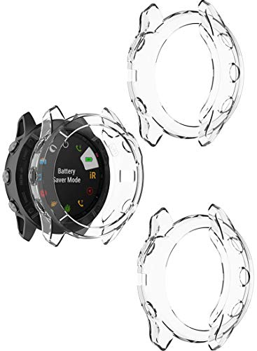 TenCloud Case for Fenix 6X Watch Cover TPU Clear Covers Compatible with Garmin Fenix 6X/6X pro/ 6X Sapphire Multisport GPSSmartwatch (Clear-3Pack)