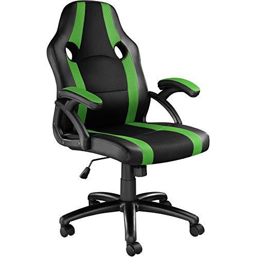 TecTake 800781 Racing Bürostuhl, Chefsessel mit Wippmechanik, Kunstleder Gaming Stuhl, höhenverstellbarer Schreibtischstuhl, ergonomischer Drehstuhl - Diverse Farben - (Schwarz-Grün | Nr. 403478)