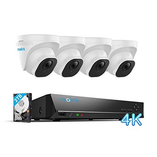 Reolink Kit Videosorveglianza IP Poe da 4K Ultra HD, 8CH Poe NVR con 4X 8MP Telecamera Esterno Impermeabile Poe, Sistema di Sorveglianza con HDD da 2TB, Registrazione 24/7, RLK8-800D4