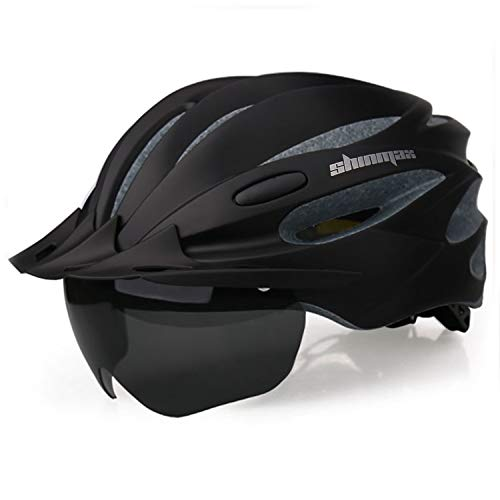 Shinmax Bike Helmet, Bicycle Helmet CPSC&CE Certified with USB Charging Light&Detachable Magnetic Goggles&Removable Sun Visor&Portable Bag Adjustable Cycling Helmet (Black)
