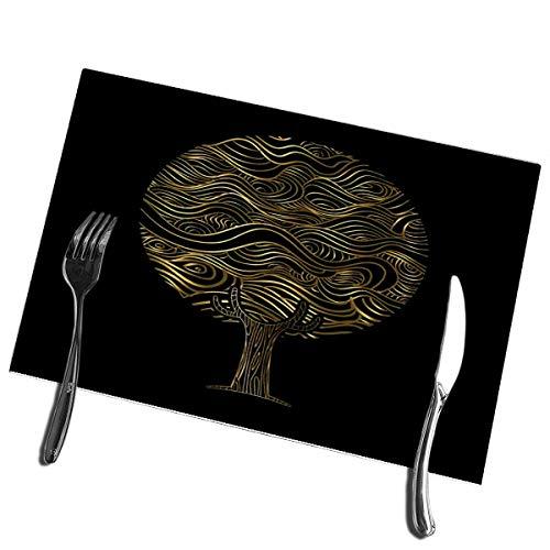 Alvahw Arbre de Tapis de Table de Cuisine avec Art de Mandala de Style Boho en Couleur Or inspiré des Tapis de Table Tribaux Abstraits 12 'X 18'