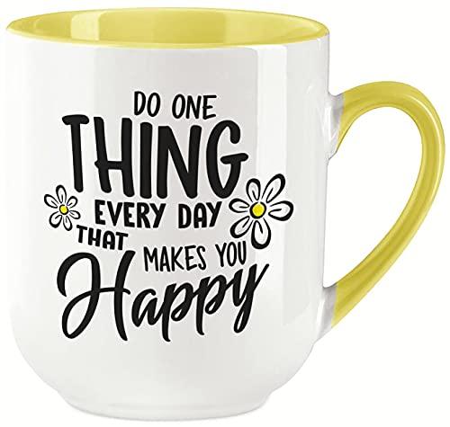 vanVerden Taza Curved – Do one think every day that makes you happy – Impresión por ambos lados, ideal para máquinas de cápsulas, regalo, color blanco y amarillo