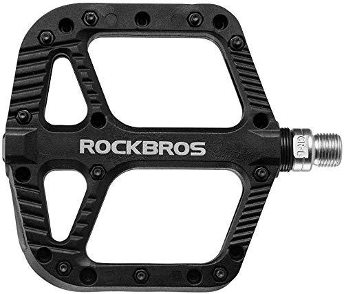 ROCKBROS Pedali per Bici MTB in Nylon ASSE 9/16 Universali Impermeabile Antiscivolo Antipolvere Superficie Larga Leggeri