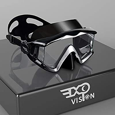 EXP VISION Adult Pano 3 Panoramic View Scuba Diving Mask, Tempered Glass Lens Snorkeling Dive Mask, Premium Swim Goggles with Nose Cover for Snorkeling, Freediving, Swimming (A-Black)