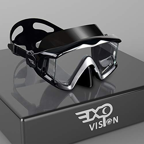 EXP VISION Adult Pano 3 Panoramic View Scuba Diving Mask, Tempered Glass Lens Snorkeling Dive Mask, Premium Swim Goggles with Nose Cover for Snorkeling, Freediving, Swimming
