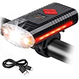 MOSFiATA USB Rechargeable Bike Lights with Bell, 4 Buttons with 9 Modes, 3