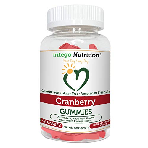 Intego Nutrition UTI Cranberry Gummies Supplement (60 Count) for Women, Men & Kids | Cranberry Soft Chew Gummy for Urinary Tract & Feminine Health | Vegetarian, Non-GMO, Gluten-Free & Made in The USA