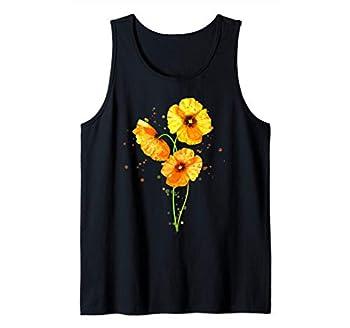 California Poppies Watercolor Flowers Wildflowers Orange Tank Top