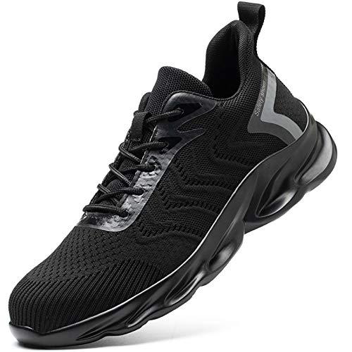 Phefee Zapatos de seguridad para los hombres con puntera de acero, ligeros, transpirables, industriales, color Negro, talla 42 2/3 EU