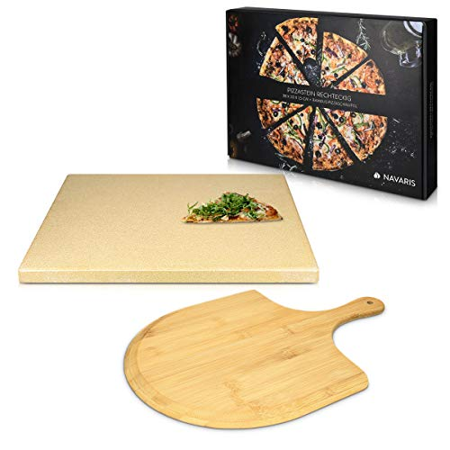 Navaris Pizzastein für Backofen Grill aus Cordierit - Pizza Stein für Ofen mit Pizzaschaufel - Gasgrill Holz-Kohle Herd Teller rechteckig in Beige