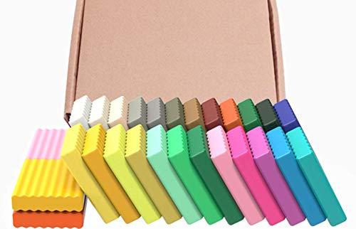 LZYANG DIY Kit De Arcilla De Modelado De 60 Colores Arcilla Polimérica Creativa Kit De Inicio De Arcilla Polimérica (Kit De 24 Colores, 500 G + Libro De Accesorios para Herramientas)