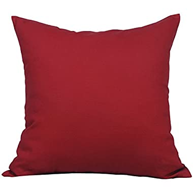 TangDepot Cotton Solid Throw Pillow Covers, 24  x 24  , Deep Red