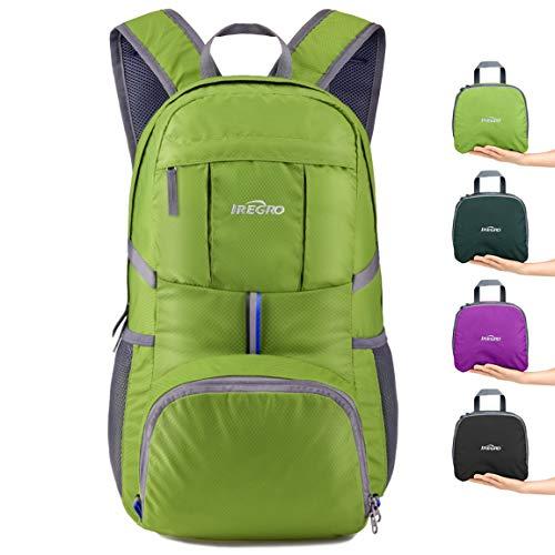 IREGRO Faltbarer Rucksack, Leichter Faltbarer Tagesrucksack, Wanderrucksack, Reiserucksack Wasserdicht, 35L, für Outdoor Wandern Reisen