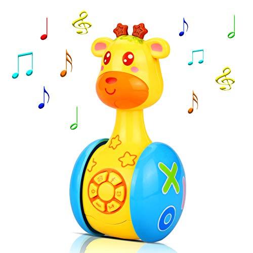 aovowog Baby Spielzeug ab 6 Monate Plus,Musikspielzeug Baby Spielzeug Cartoon Giraffe Tumbler für Kleinkinder Kinder,Stehauf Spielzeug Soundspielzeug mit Musik und Lichter für Jungen und Mädchen