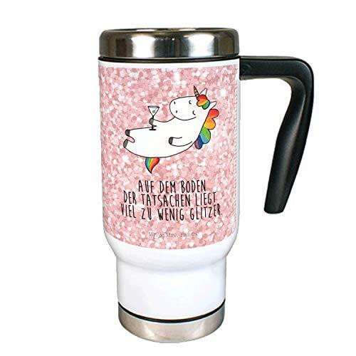 Mr. & Mrs. Panda Thermotasse, Kaffeebecher, Edelstahl Thermobecher Einhorn Cocktail mit Spruch - Farbe Glitzer Rosa
