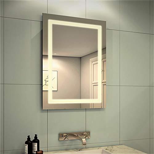 Meykoers Wandspiegel Badezimmerspiegel LED Badspiegel mit Beleuchtung 60x80cm Lichtspiegel Warmweiß 3000K