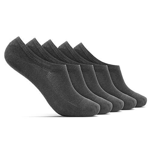 ROYALZ Calcetines zapatillas cortas 5 pares para hombre y mujer transpirables sneaker socks - calcetines invisibles, Set:5 Pares/Gris oscuro, Talla Calcetines:39-42