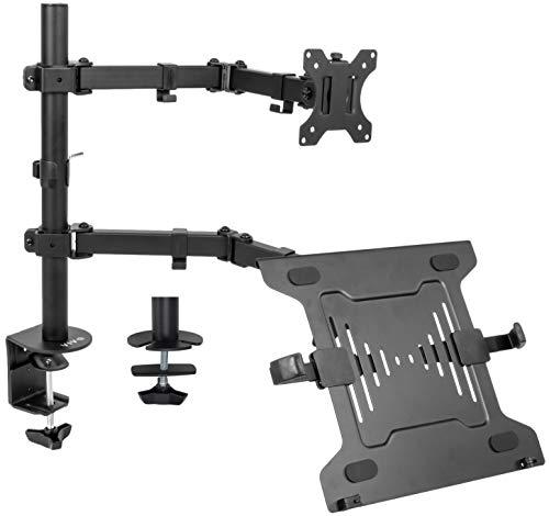 VIVO - Soporte para monitor de movimiento completo y soporte de escritorio articulado doble brazo central VESA, compatible con pantalla...