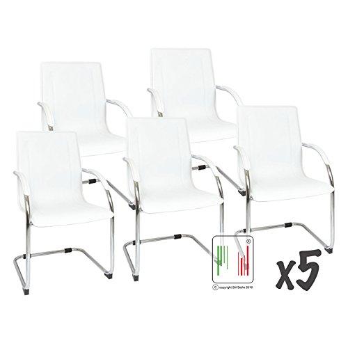 Stil Sedie Set 5 poltrona attesa con braccioli Milano, sedia per sale conferenza, sedia per gli ospiti con seduta ampia bianco