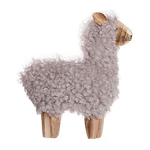 Gilde - Alpaca Decorativa in Legno e Lana, 26 x 22 x 4 cm, Colore: Bianco/Grigio