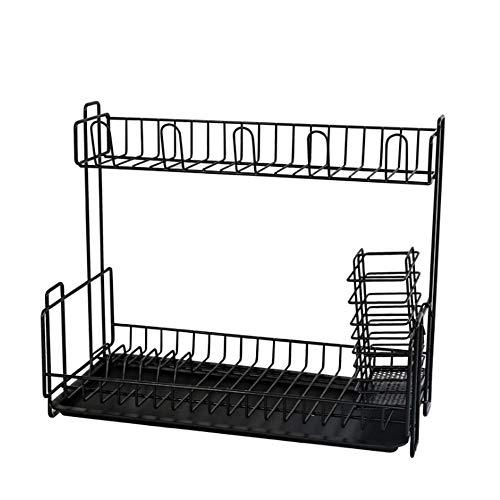 YAzNdom Drain Rack 2-laags Droogrek Vaatwasser Keuken Opslag Weefsel RVS Chassis En Een deel van de Cup Houder Zijn Antislip Verstelbare wastafel Drainer