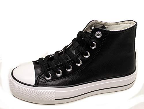 Andy-z Damen Sneaker aus Nappaleder, Schwarz - Schwarz  - Größe: 38 EU