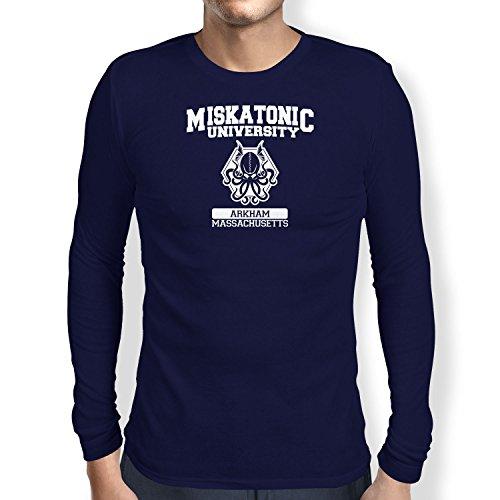 Texlab Herren Miskatonic University - Langarm T-Shirt, Dunkelblau, S