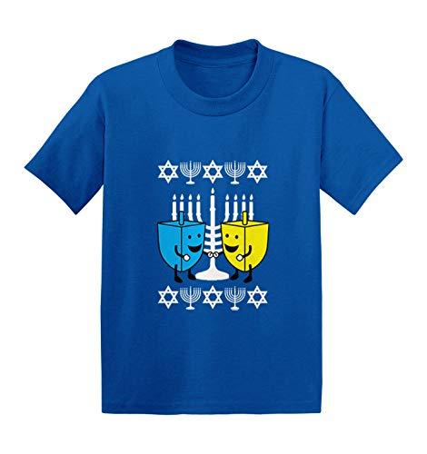 Happy Dreidels - Ugly Hanukkah Sweater Infant/Toddler Cotton Jersey T-Shirt (Royal Blue, 4T)