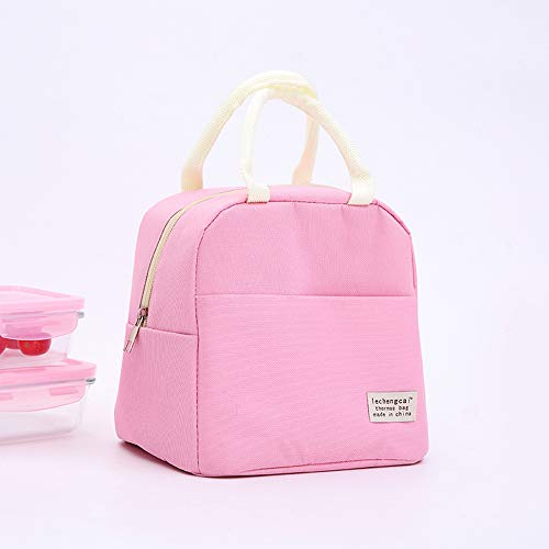 Axgo Lunch Waterproof Bento Box Reusable Thermal Tote Bag for Office Worker Picnic Hiking Beach Fishing, Pink