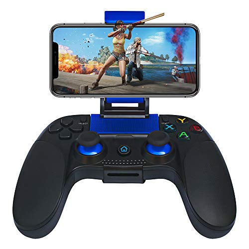 STOGA Mobile Game Controller Compatible for iPhone iOS & Android,Wireless Remote Controller with Vibration Feedback, Mobile Phone Holder (Blue) (Blue)