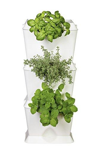 minigarden 1 Juego One para 3 Plantas, Jardín Vertical Modular y Extensible, Colocar en el Suelo o Colgar en la Pared, Mecanismo de Drenaje Innovador, Largo Ciclo de Vida (Blanco)