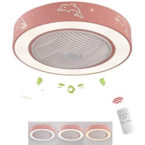 JJLL Klassischer Deckenventilator mit dimmbarem LED-Beleuchtungssatz und Fernbedienung, Kinderzimmer Esszimmer Wohnzimmer Junge Mädchen Zimmerventilator Licht Nordic Ceiling Lam