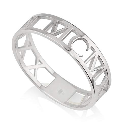 925 Sterling Silver Roman Numeral Ring Personalized Gift for Women Custom Made with Any Date (Silver)