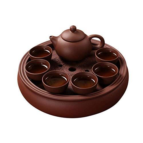 Set Puer schwarzer Tee und Oolong ltea Yixing Teekanne Ton handgemacht Schöne und einfache Teekanne, C, achtteiliges Set