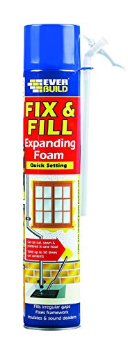 Fix & Fill Expanding Foam - Polyurethane foam for irregular gaps, fixes framework, insulates and sound deadens - 750ml - Beige