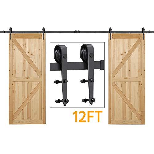 Yaheetech 12FT/366cm Retro Sliding Wood Barn Door Hardware Kit Closet Sliding Track Roller Hangers for Double Doors