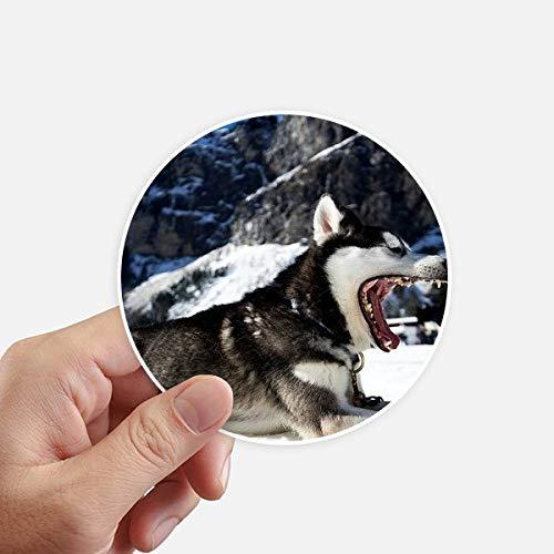 DIYthinker Big Dog Boca Nieve Husky Imagen Redondas 10cm Pared Maleta portátil Motobike Decal 8pcs Diámetro 10cm