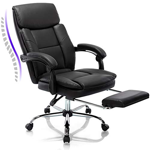 Rimiking Big & Tall Office Chair with Footrest- Bonded Leather Desk Chair Swivel Rolling High Back Computer Chair Adjustable Ergonomic Task Chair Black