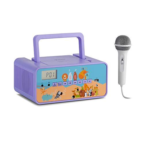 auna Kidsbox - Boombox CD, Lettore CD, Microfono, Bluetooth, USB-Port, Display LC, Funzionamento a Corrente/a Batteria, Connessione Jack da 3,5 mm per Cuffie, Viola