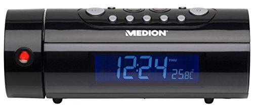 MEDION LIFE E66331 MD 80024 Projektions-Uhrenradio mit Infrarot-Sensor, Temperaturanzeige, Kalender, 4 Weckprogramme, schwarz