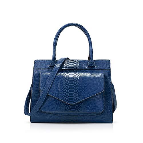 NICOLE & DORIS Damen Handtaschen Krokodil Handtasche Henkeltasche Lackiert Krokodil Top Griff Henkeltasche Schultertaschen Blau