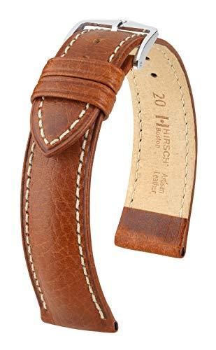 HIRSCH Correa para reloj de pulsera XS para mujer, piel de búfalo, modelo Boston, 20 mm, marrón dorado