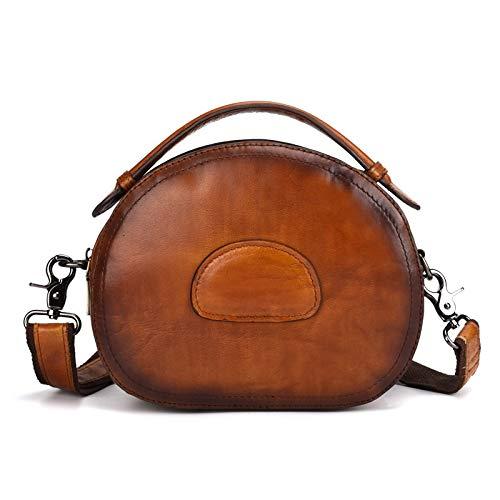 Bolsa de Crossbody Mini Mini Bolsa de Asas de Cuero Genuino Vintage Bolsa Hollow Bag (Color : Marrón)