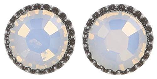 Black Jack Ohrstecker klassisch rund klein in white opal