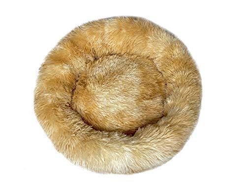 EWENYS Ø 60cm Hundebett Donut, luxuriöses, weiches Plüsch-Donut-Hundebett, deep Sleep Calming Bed Hund (L– 60cm, Farbverlauf Gelb)